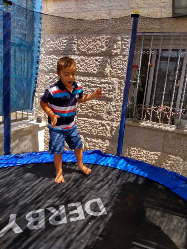 Jumping on the trampoline - fun and great for speech!
